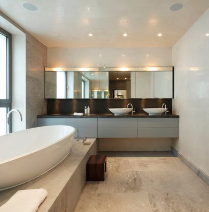 P Bathroom With Venetian Plaster Walls And Travertine Floor