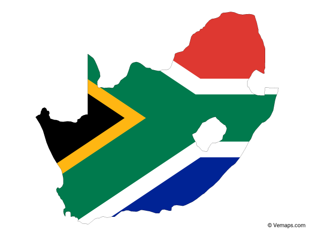 Flag Map Of South Africa Free Vector Maps South Africa Map Africa Drawing South Africa Flag