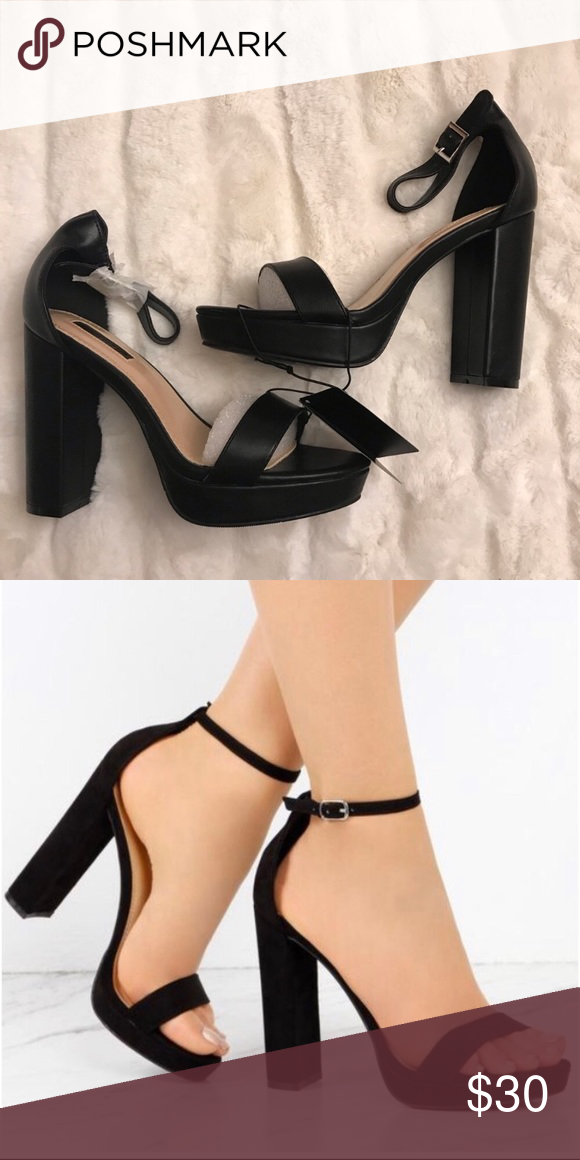 super specials 100% high quality quality Black platform heels Black heels, easy to walk in for a fun ...