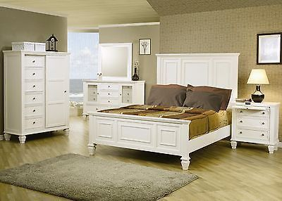 King size White Wood Panel Bed Bedroom Furniture 4 pcs Set     king size White Wood Panel Bed Bedroom Furniture Set Item Descriptions Give  your bedroom a classic and elegant style with this headboard and footboard  bed