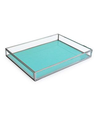 Teal Glass Tray