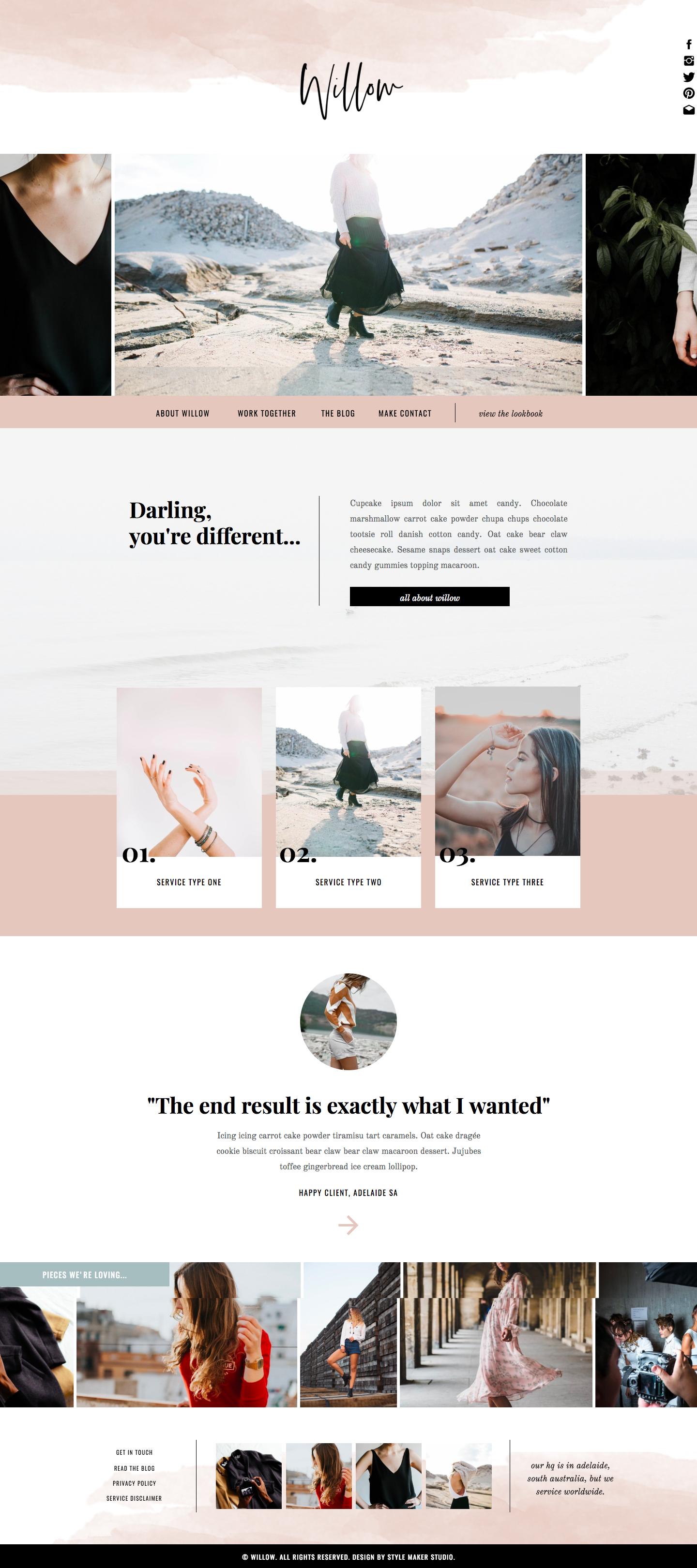 Fashion Website Template For Showit Platform In 2020 Web Layout Design Website Design Layout Website Design Inspiration