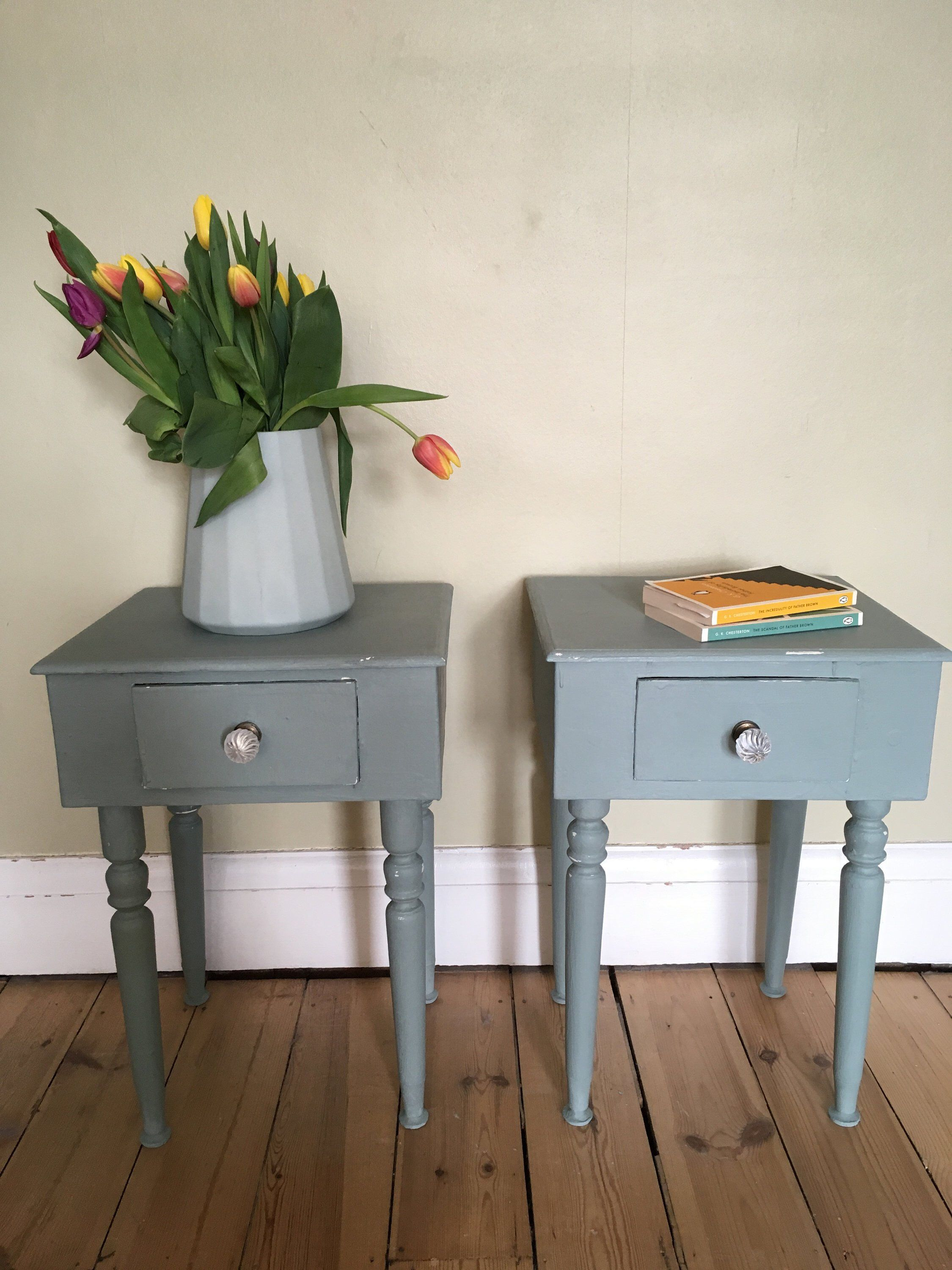 Pair Of Elegant Bedside Tables Cabinets Side Tables Painted