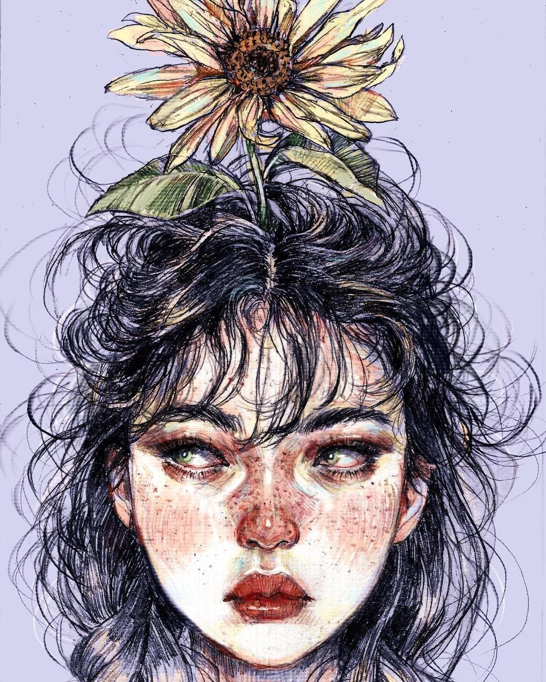"""Walter's Mom on Instagram: """"Tried some new things today. Didn't hate it. 🌻 . . #dailysketch #dailydrawing #pencildrawing #portrait #illustration #aesthetic #🌻 #freckles"""""""