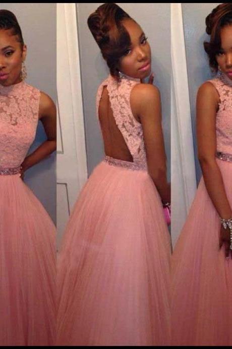 Beaded Prom Dress,Backless Prom Dress,Lace Prom Dress,Fashion Prom ...
