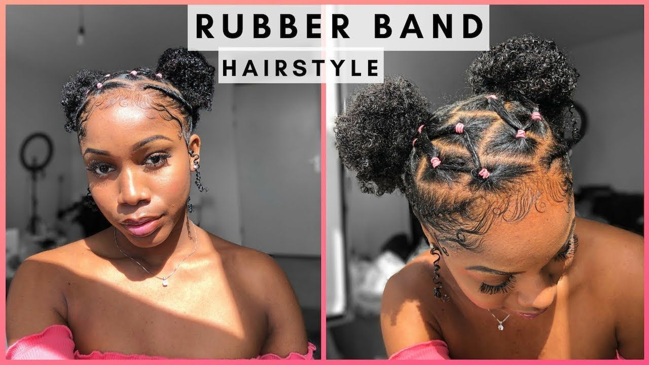 Easy Rubber Band Style With Two Buns On Natural Hair Natural