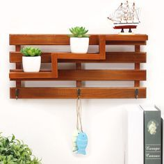 Stair Steps Wall Shelf With Hook, 3 Tiers Wood Display Planter Decoration  Idea