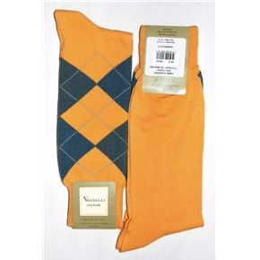 Vannucci Couture Blue With Brown Stripes Cotton Blend Dress Socks