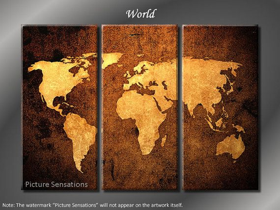 framed huge 3 panel world map giclee canvas print ready to hang