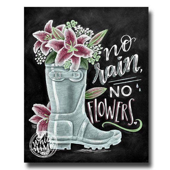 Flower Wall Decor Reversible Mosaic With Chalkboard: No Rain, No Flowers ♥ ♥ L I S T I N G ♥ Each Image Is
