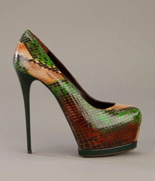 Gianmarco Lorenzi Multi Colour Python Platform Pumps #GML #Heels #Shoes #Lorenzis
