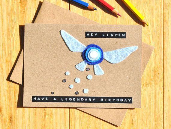 Zelda Birthday Card Navi Hey Listen Handmade Felt And Zelda Birthday Birthday Cards Cards Handmade