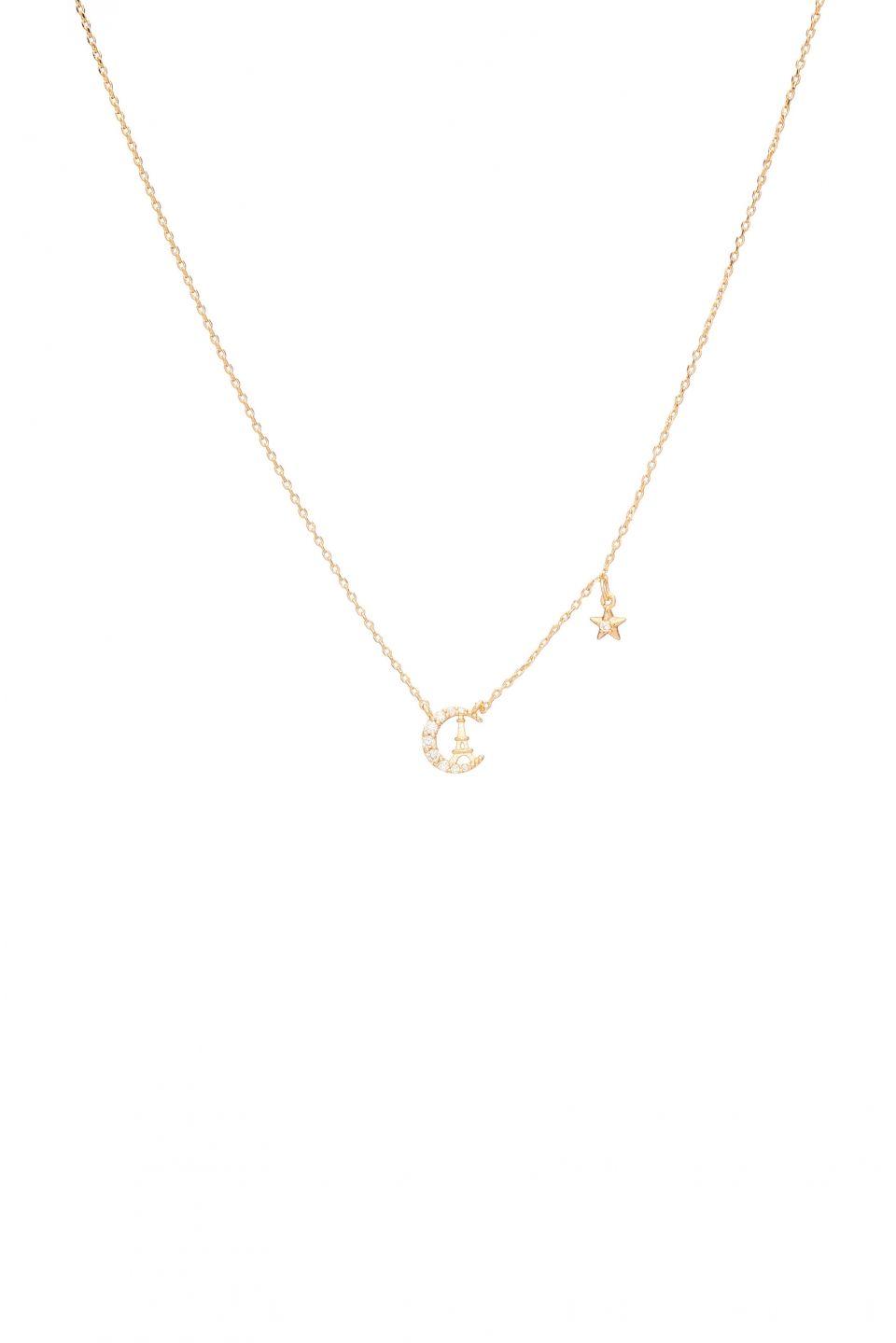 61c968f8e20f2b Rue Gembon Estelle Crescent Moon Eiffel Tower Necklace | Delicate ...