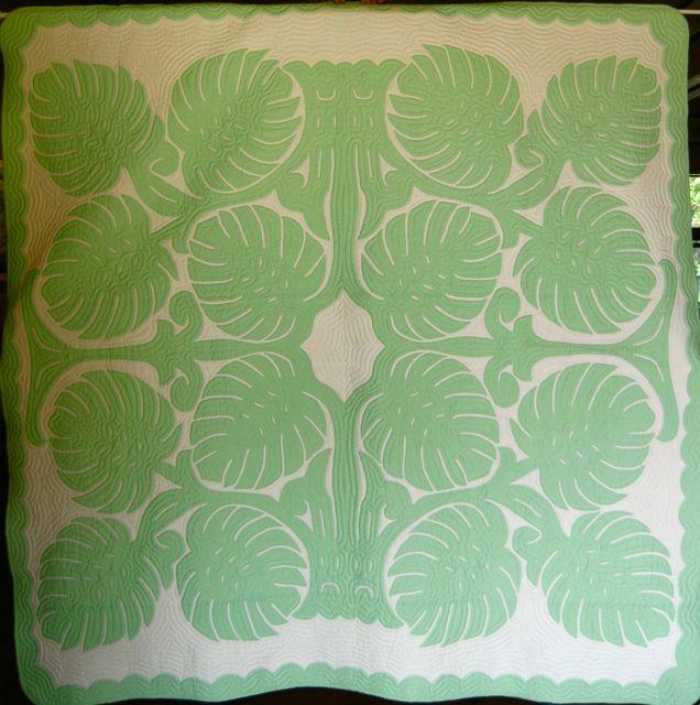 hawaiian quilt w/ monstera leaf in mint green! | Tropical Appliqué ...