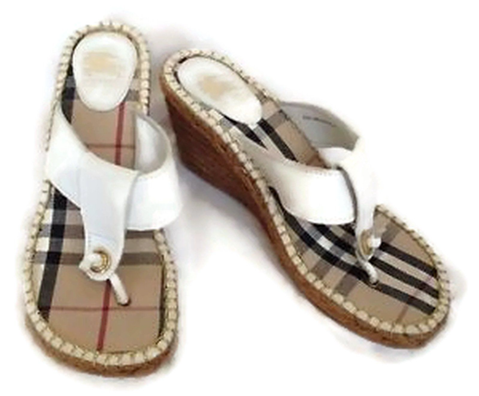 Burberry Espadrille Nova Check Thong Wedge Sandal White Leather Sz Tendencies Sandals Footbed 2 Strap Brown 41 Espadrilles And Products