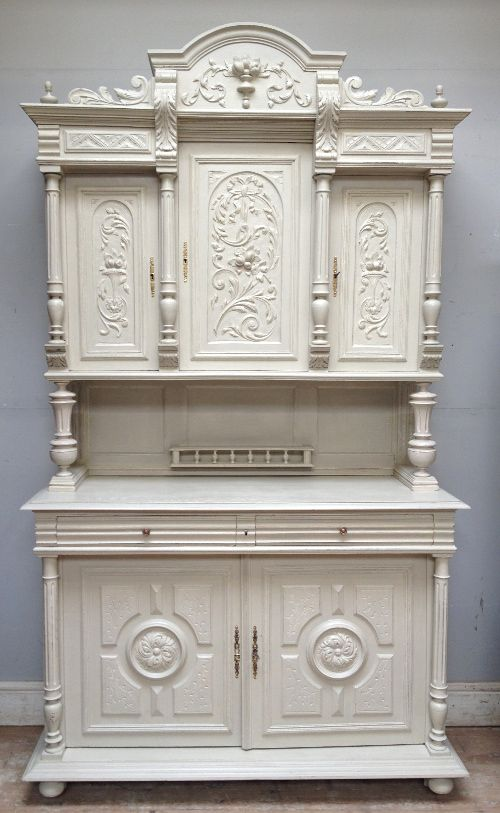 antique french 3 piece buffet henri ii style old white chalk paint. Black Bedroom Furniture Sets. Home Design Ideas