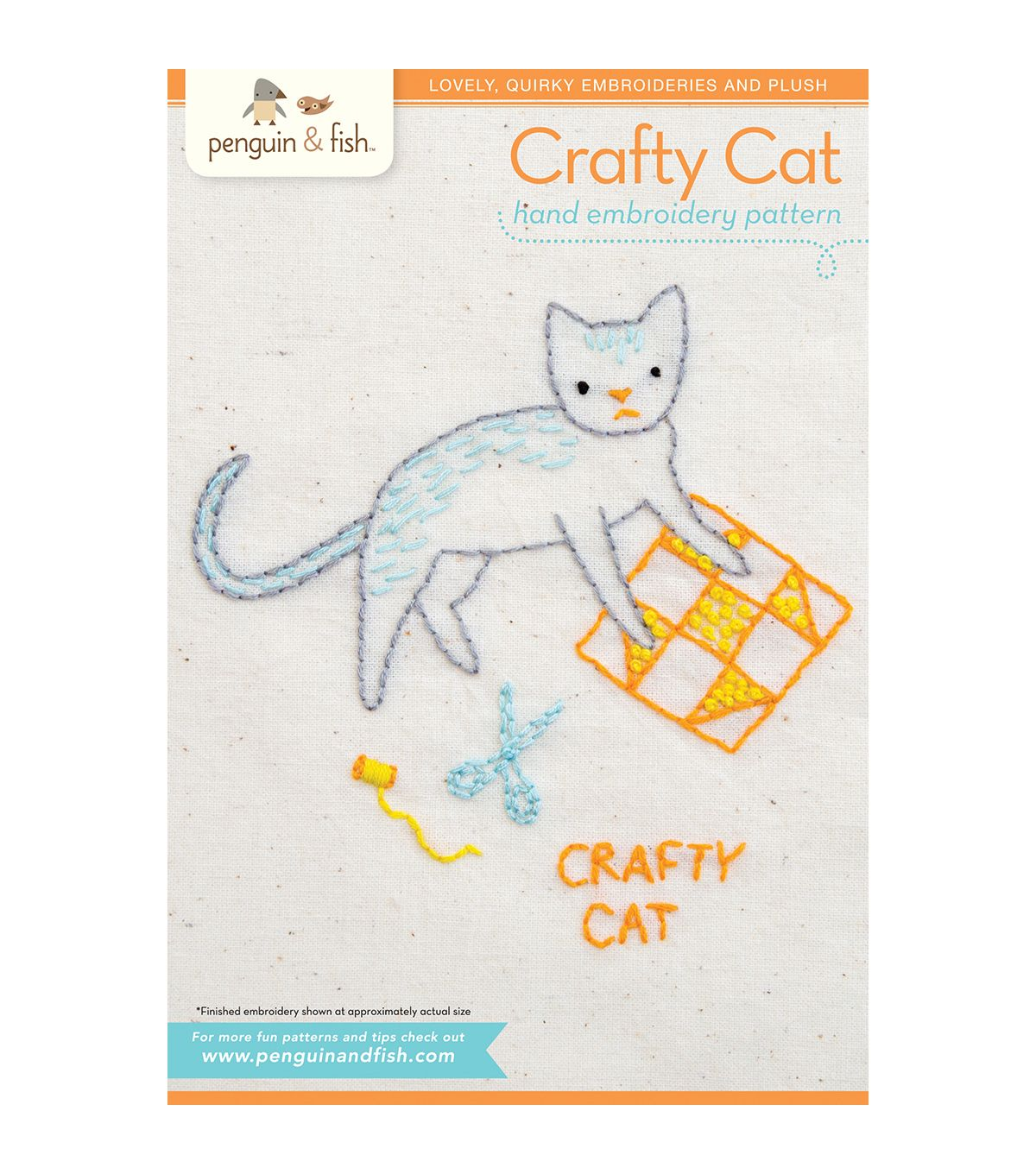 Crafty cat hand embroidery pattern