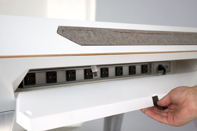 D117 Desk Cable Compartment With Integrated Power Strip