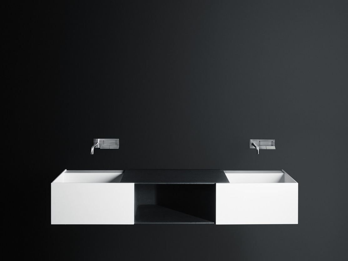 Double Wall Mounted Corian Washbasin Duec By Boffi Design Victor