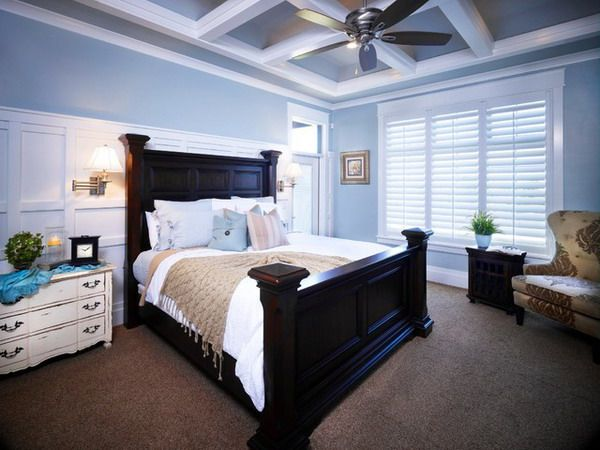 Blue Master Bedroom Ideas With Traditional Wood Bedroom Furniture Set  Jasons Room   Black Bed, Blue Walls, Tan Accents