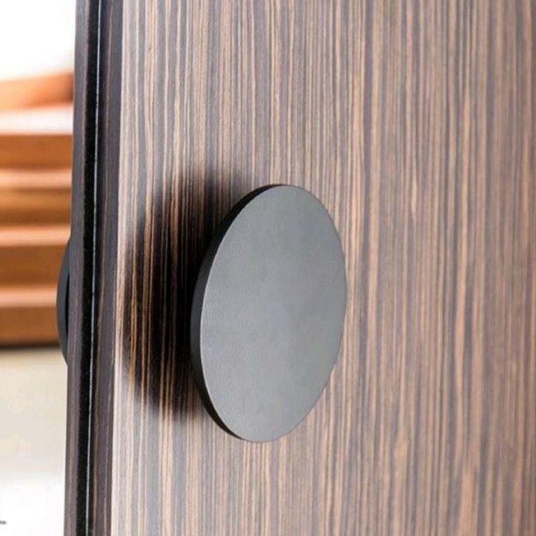 Round Pull Handle In Black Finish On An Entry Door Door Design Hardware Interior Black Door Handles Door Handles Door Handle Design