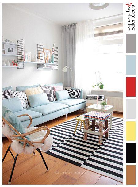 Interior Color Palettes Pale Gray Living Room Powder Blue Sofa