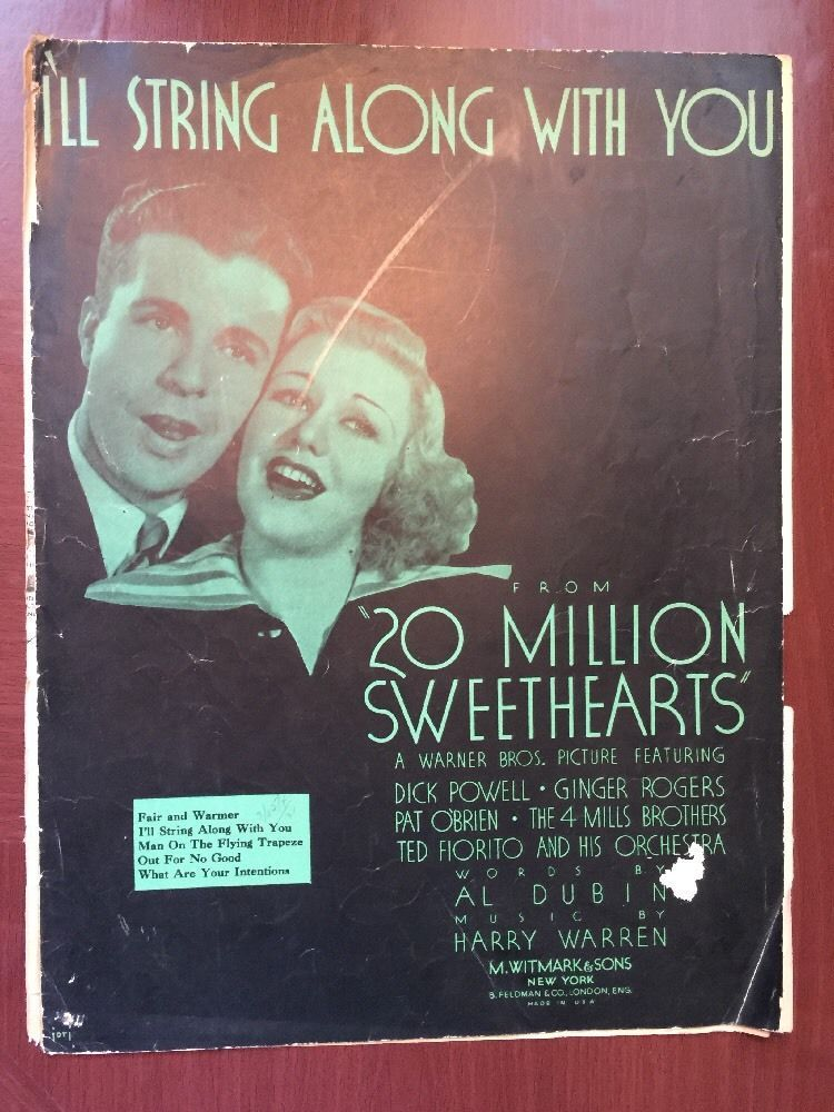 I'll String Along With You Music Sheet Book Dick Powell Ginger Rogers Obrien Vtg