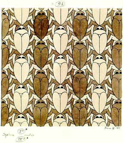 'Scarabs' (1953): Insect motif Tessellation Art by M. C. Escher