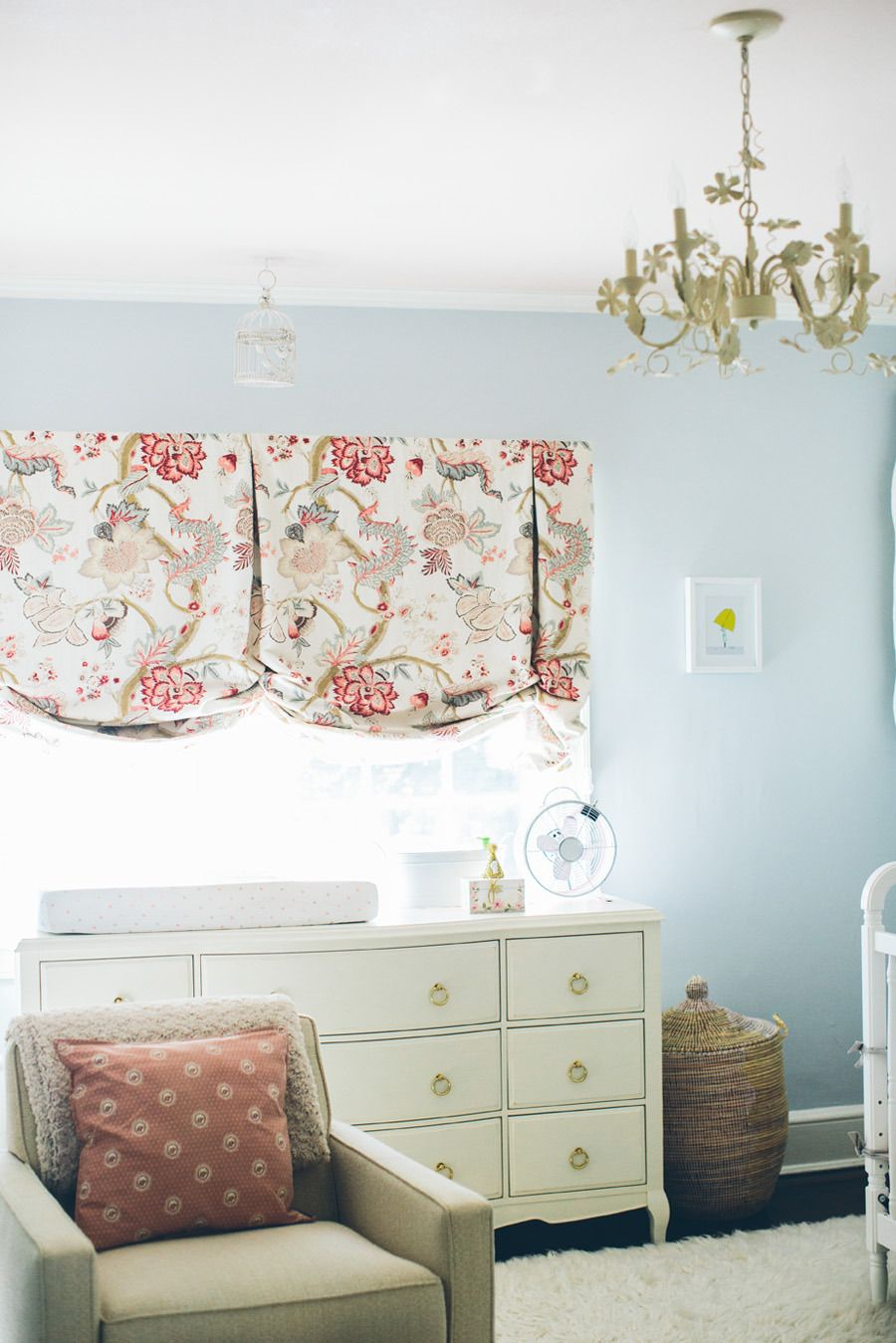 Pink and Blue Nursery Read More: http://www.stylemepretty.com/living/2014/10/30/traditional-meets-cozy-home-tour-in-long-island/