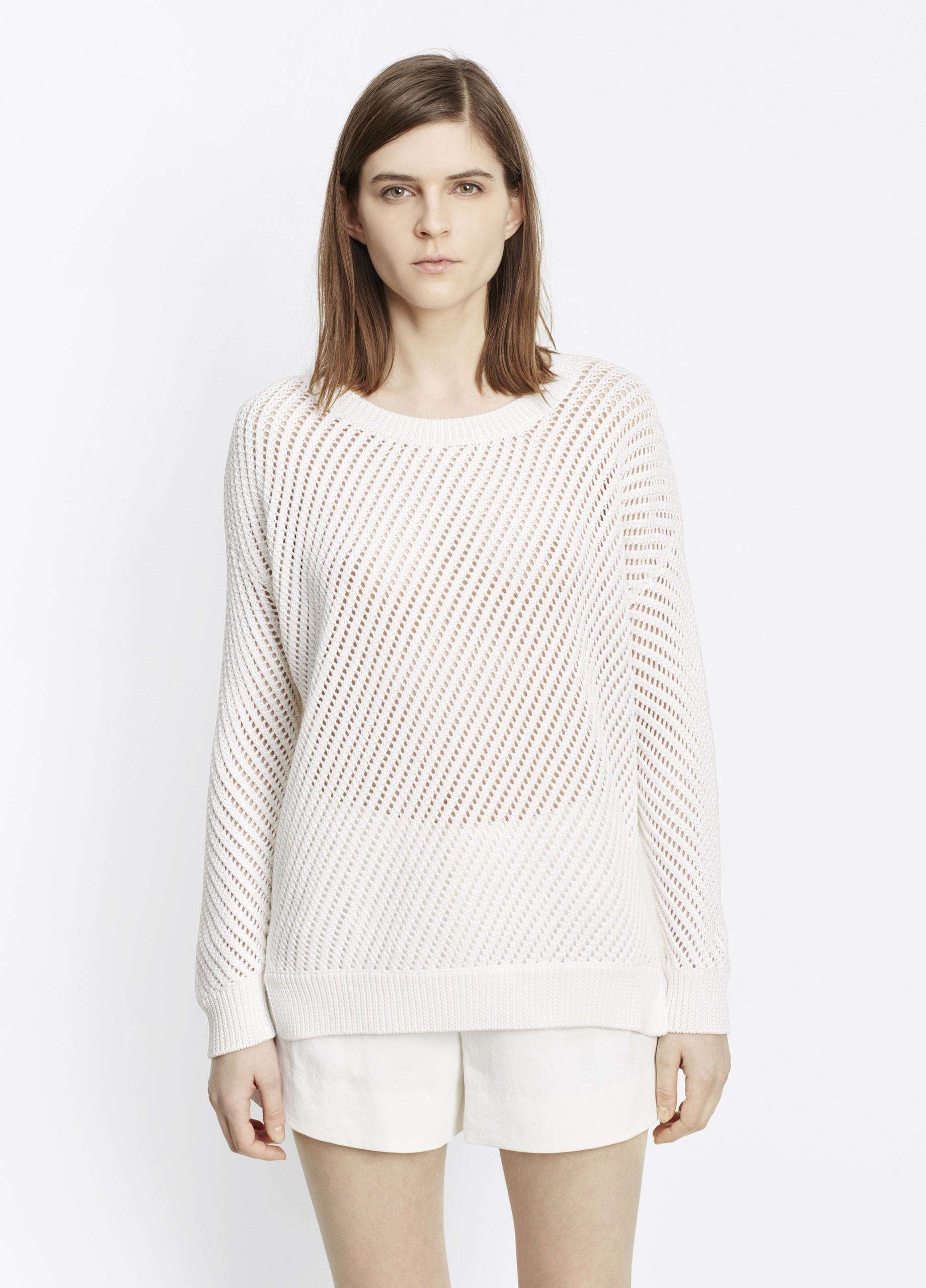 Mesh Stitch Cotton Pullover Sweater for Women | Vince | Boutique ...
