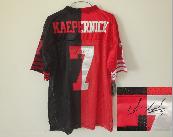 Men s Nike San Francisco 49ers  7 Colin Kaepernick Split Autographed Jersey 1295ecd27