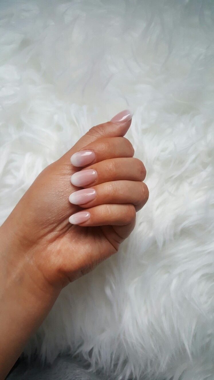 French ombre acrylic powder round nails | Nail Ideas | Pinterest ...