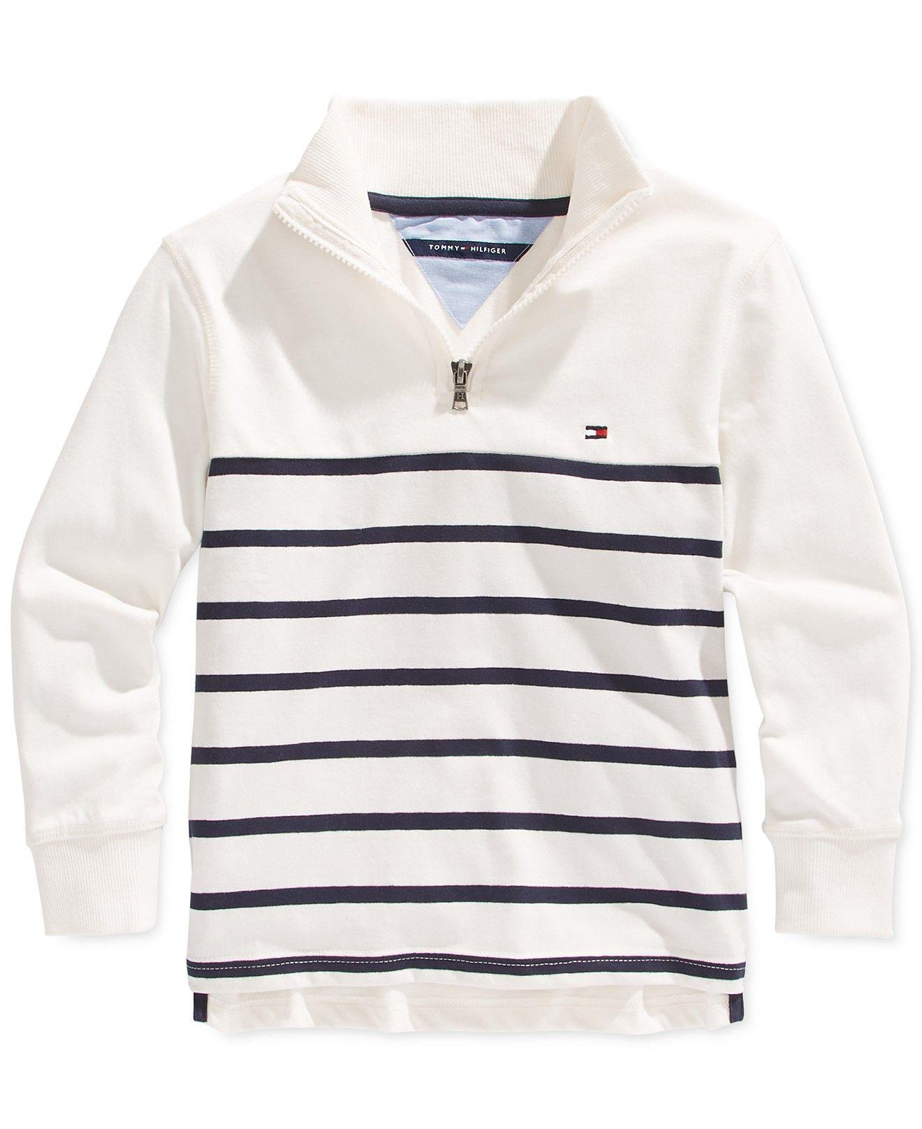7b413608a Tommy Hilfiger Little Boys' Quarter-Zip Striped Pullover - Kids & Baby -  Macy's