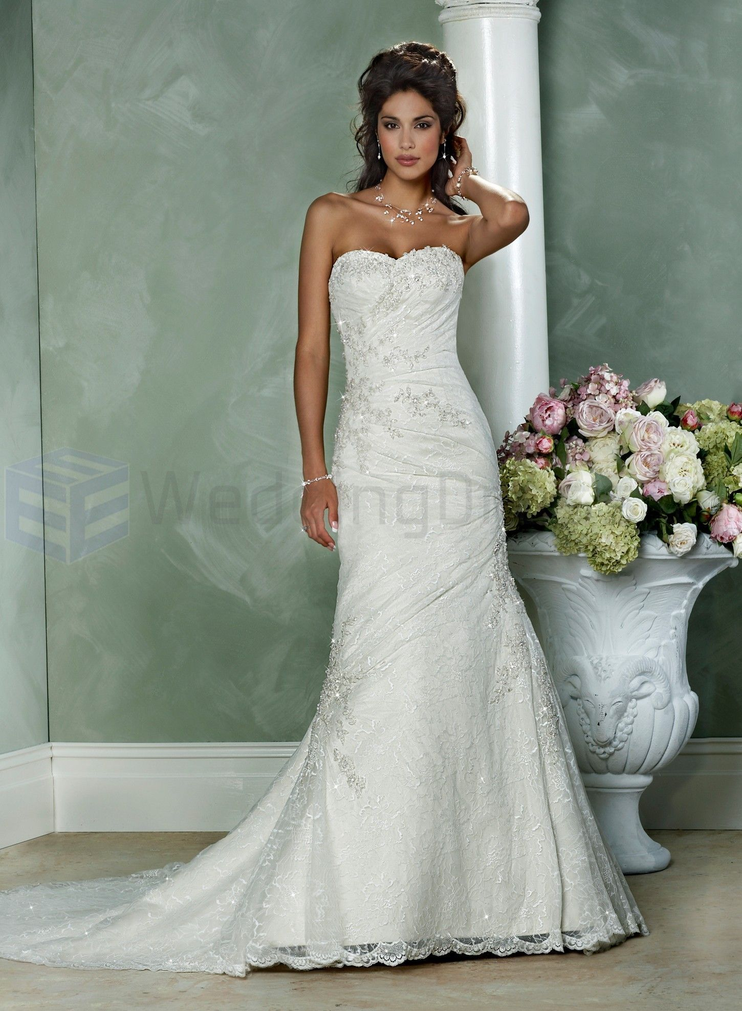 Lace Wedding Dresses | Lace and Satin Strapless Sweetheart Neckline ...