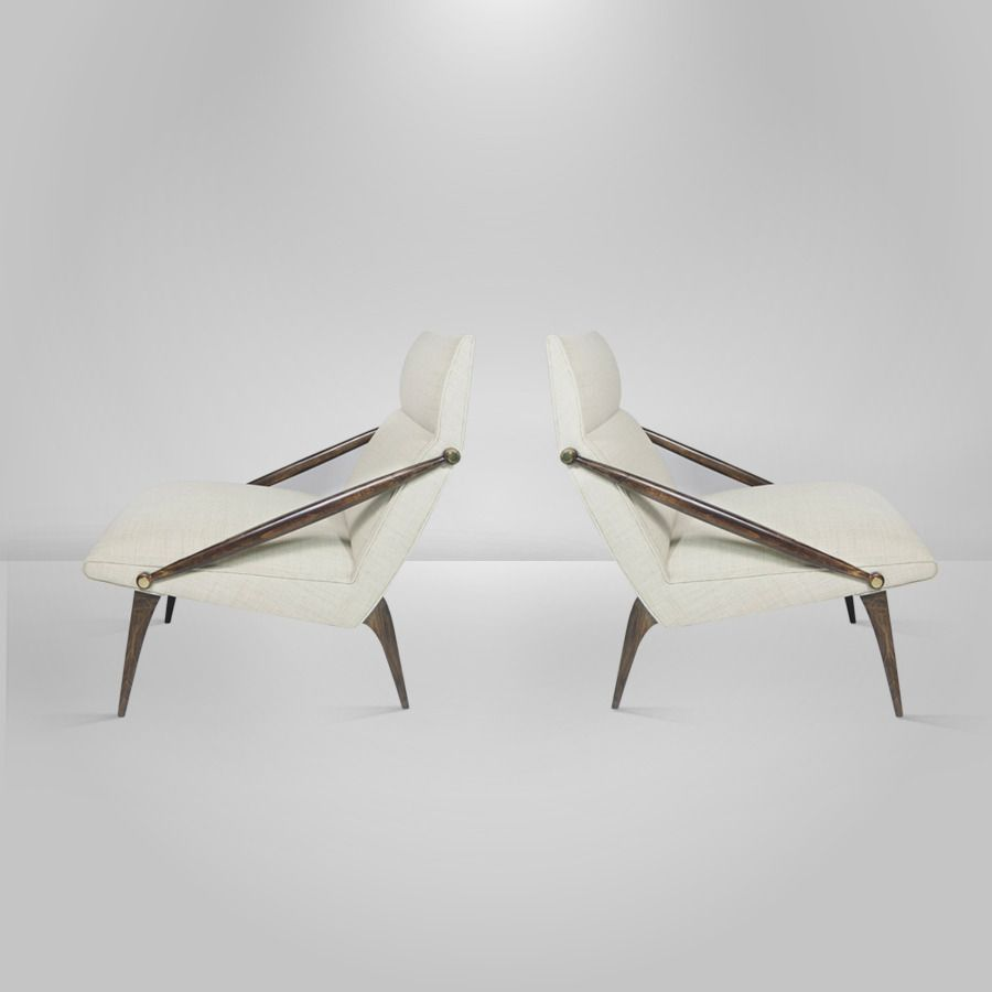 Pair Of Gio Ponti For M Singer And Sons Lounge Chairs Circa 1950
