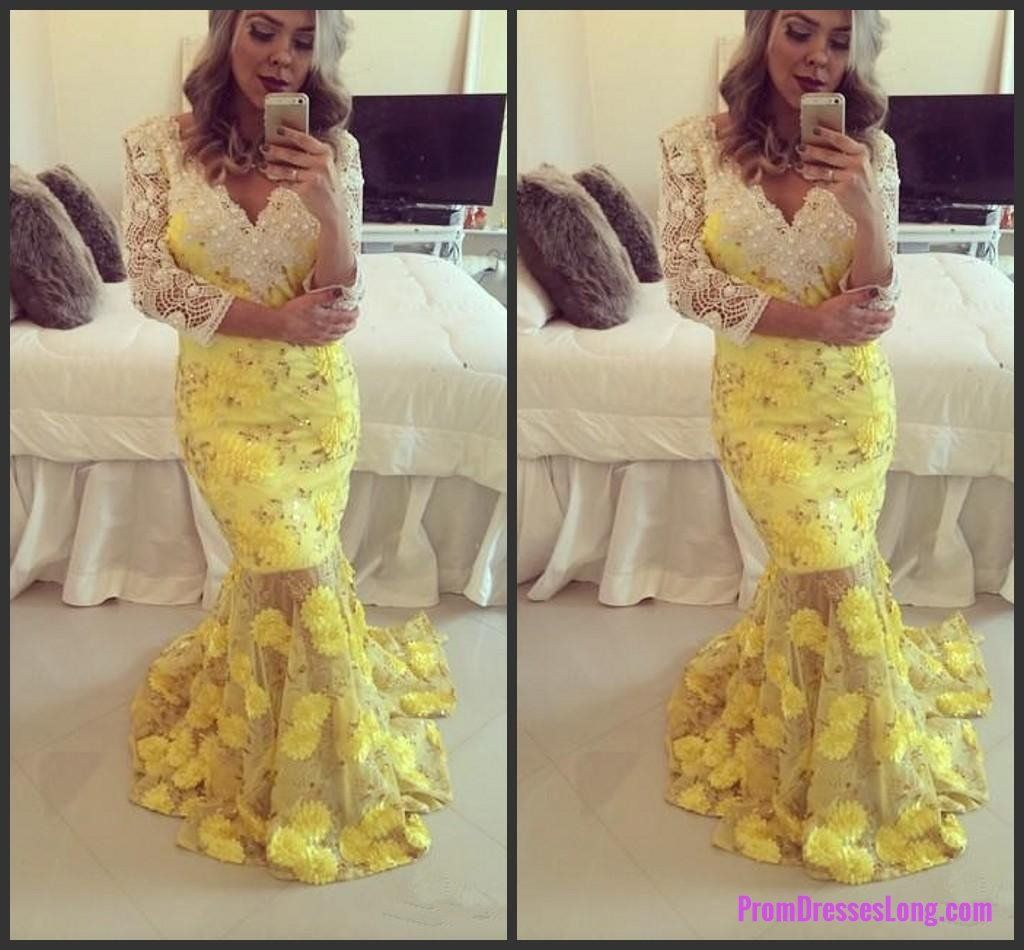 Long sleeve sheath prom dress with yellow appliqeus deep v neck