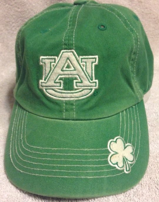 06adff8a1861a Auburn Tigers St Patrick s Day Green Clover Baseball Cap Adjustable Buckle  Lucky