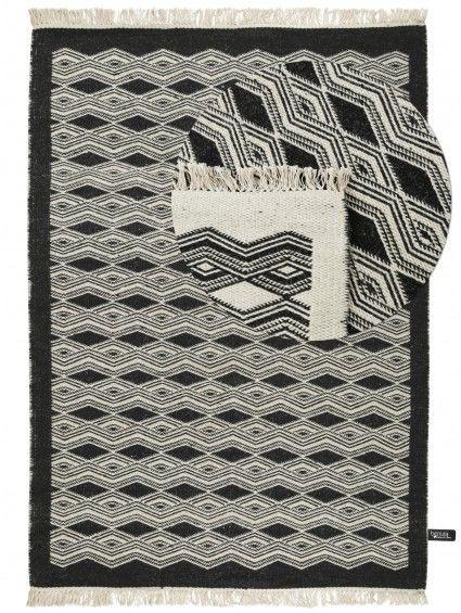 Zweiseitiger Wollteppich Fresh Kelims Schwarz/Weiß Wohnzimmer