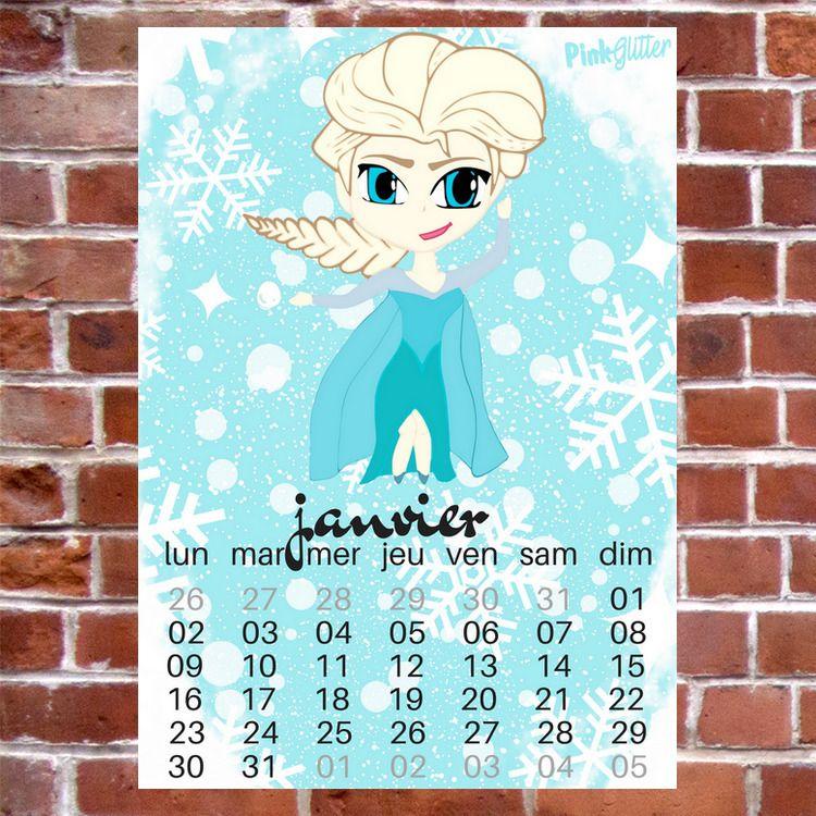 calendrier a imprimer reine des neiges