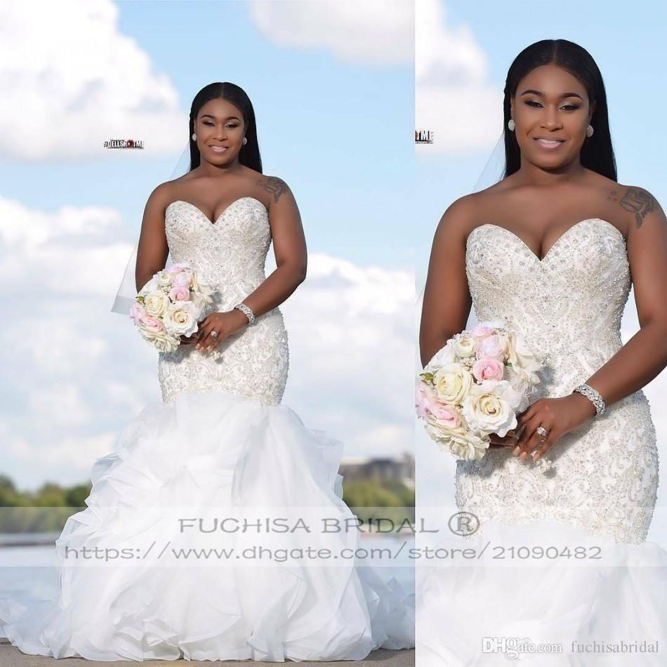 Sparkly Sleeveless Mermaid Wedding Dress Long Plus Size Bridal Dress Gown With Corset Back Sle Wedding Dresses Beaded Wedding Dresses Knee Length Wedding Dress [ 950 x 950 Pixel ]