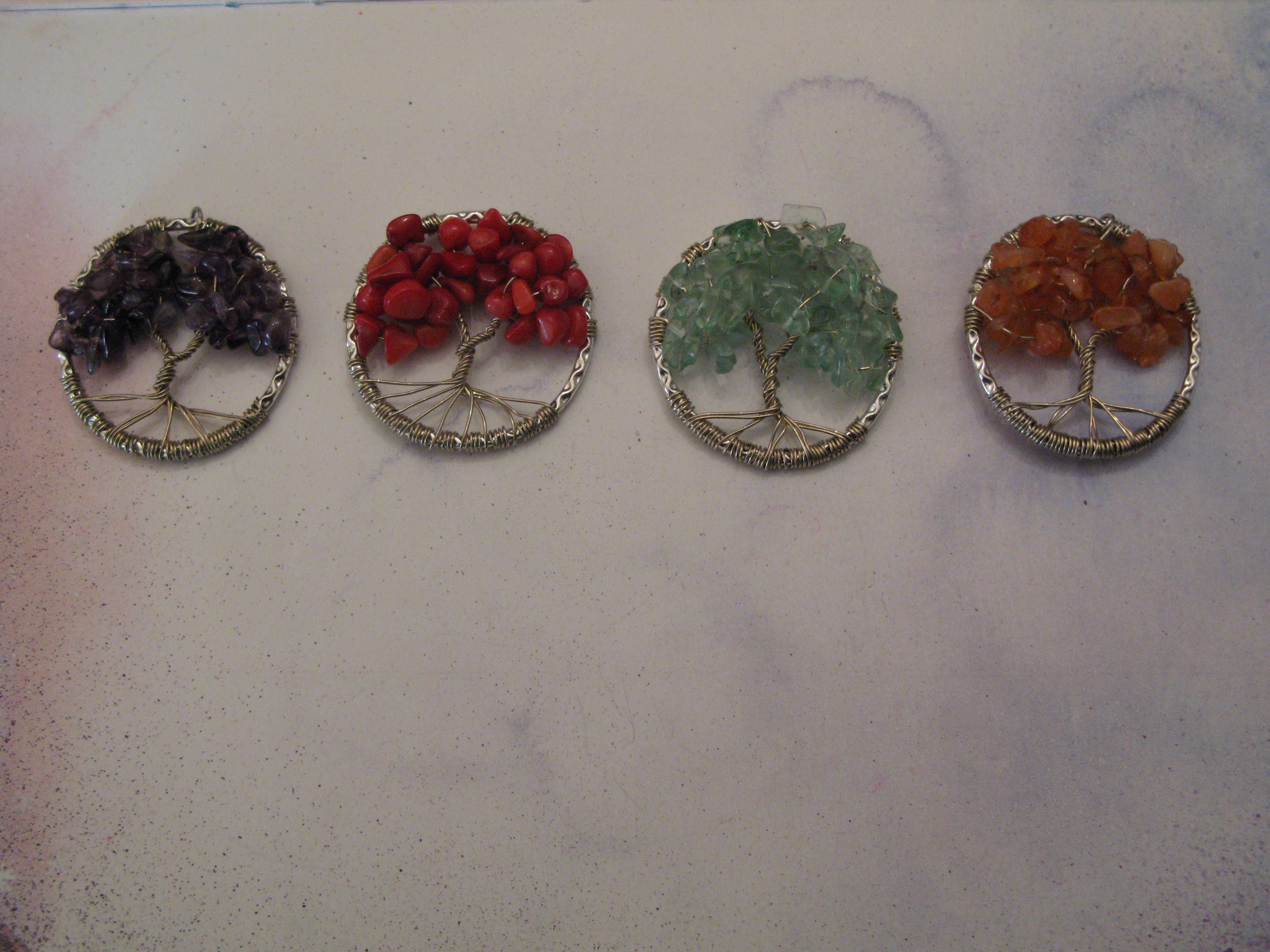 Tree of life. Wire and gemstone chips.