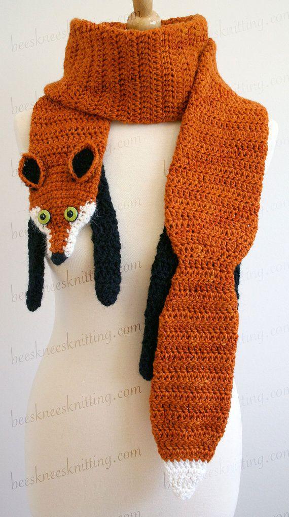 Digital PDF Crochet Pattern for Fox Scarf - DIY Fashion Tutorial ... 0e90e55eede