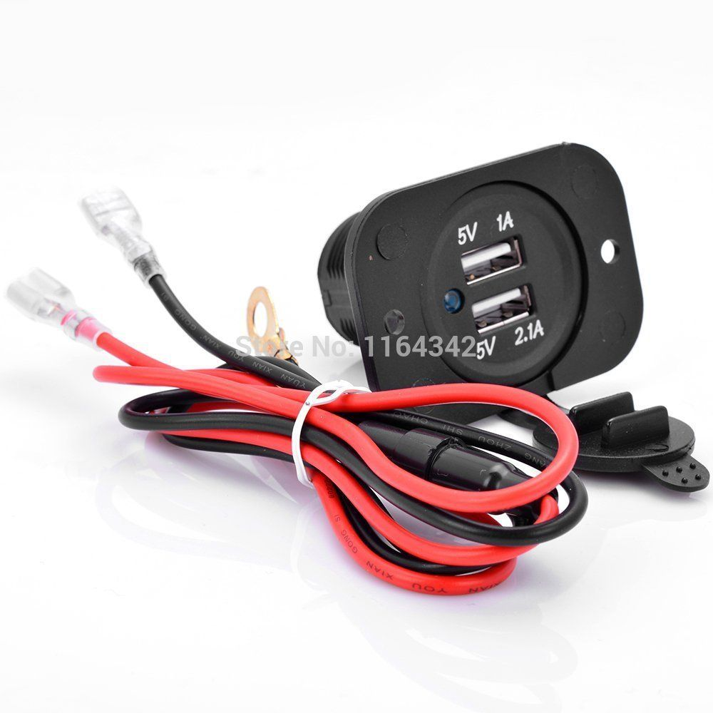 2.1A 12V Waterproof Dual USB Charger Socket Plug Outlet Panel Car Motorcycle