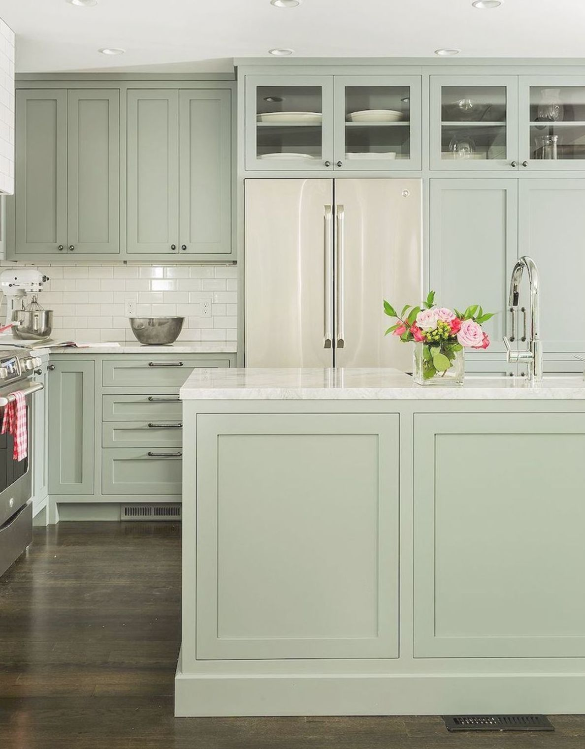 Awesome Sage Greens Kitchen Cabinets 13 In 2020 Sage Green Kitchen Green Kitchen Cabinets Kitchen Renovation