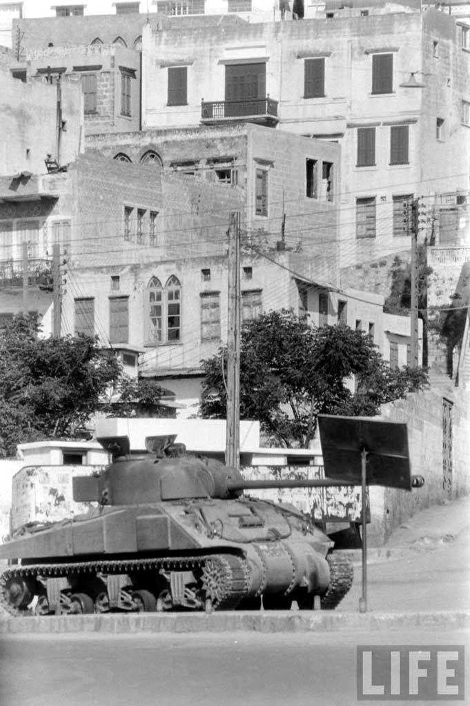 A Lebanese Army Sherman Firefly (welded hull front) in Tripoli.