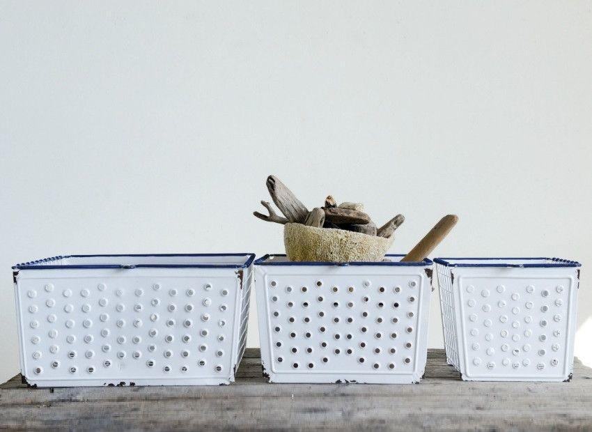 vintage style enameled storage basket set of 3  vintage