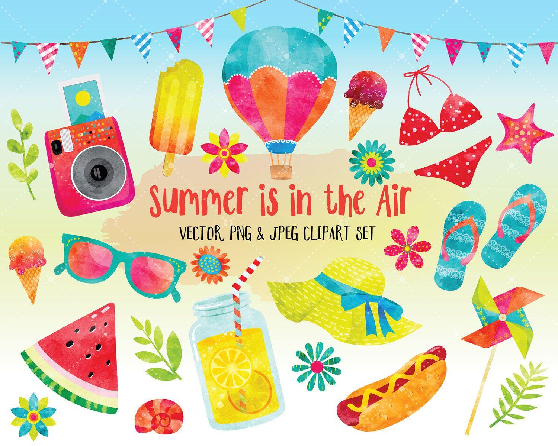 Watercolor Summer Clipart Watercolor Clipart Cute Clipart Set Digital Printables Digital Clip Art Instant Down Clip Art Summer Painting Summer Clipart