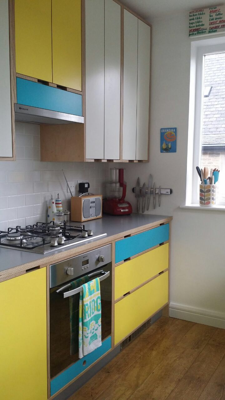 cheerful colour blue yellow kitchen birch ply with lamination flooring i love plywood. Black Bedroom Furniture Sets. Home Design Ideas