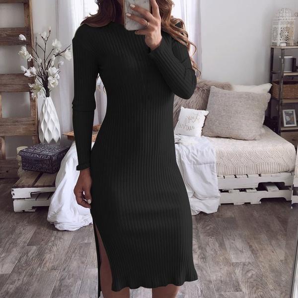 c15737d377b Sexy Women Full 2018 Autumn Split Dress Package Hip Bodycon Dresses Knit  Club Fashion Plus Size Winter Khaki Party Dress M0164