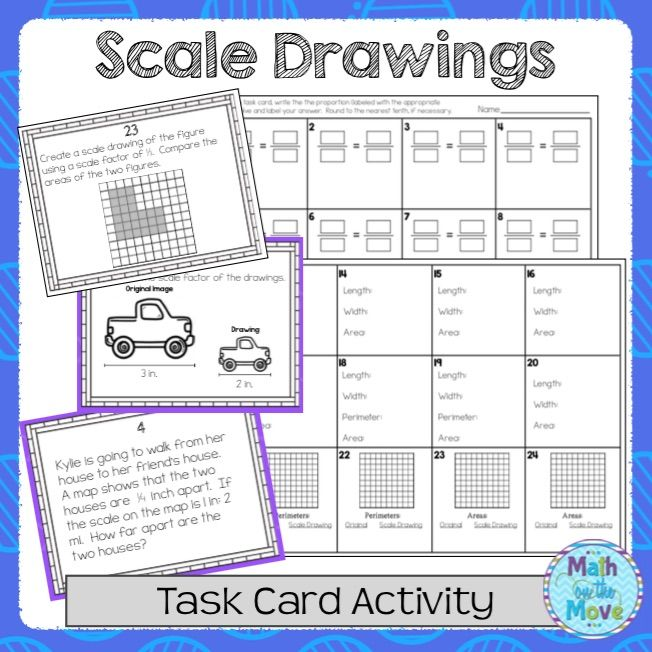 Scale Drawings Task Card Activity 7g1 Common Core Standards